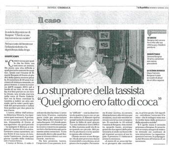 Processo stupro della tassista Roma