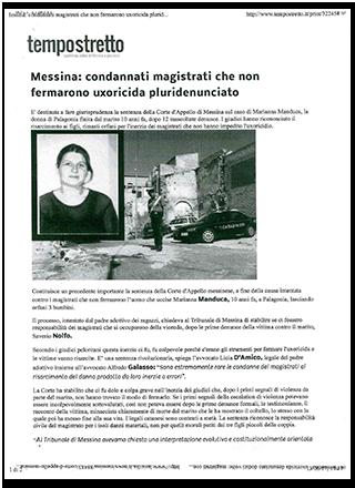 Articolo di Tempostretto quotidiano online di Messina