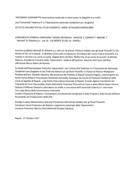 Comunicato stampa Convegno Codice antimafia Mafiosi e corrotti insieme 1 1