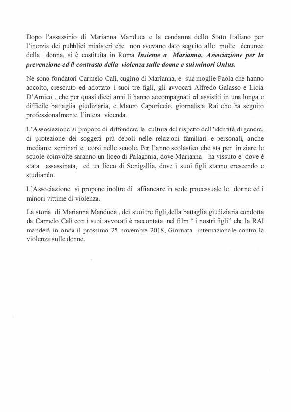 Lettera di Presentazione Associazione Insieme a Marianna