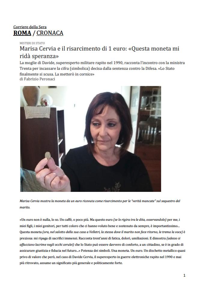 Marisa Cervia e il risarcimento di 1 euro