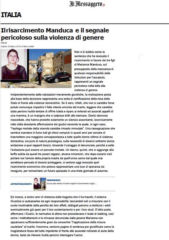 Articolo-Il-Messaggero-sentenza-Marianna-Manduca