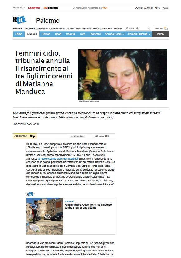Articolo di Repubblica - Palermo