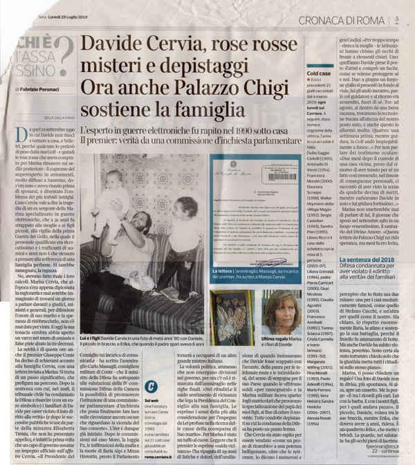 Articolo Corriere su commissione parlamentare su Davide Cervia