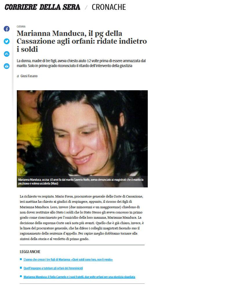 Marianna Manduca Articolo Corriere