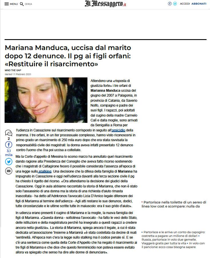 Marianna Manduca articolo Messaggero