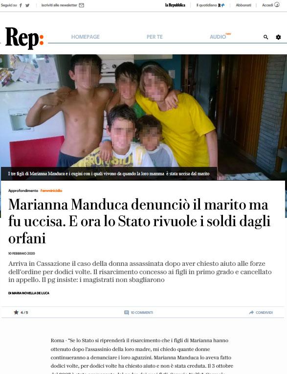 Marianna Manduca articolo Repubblica